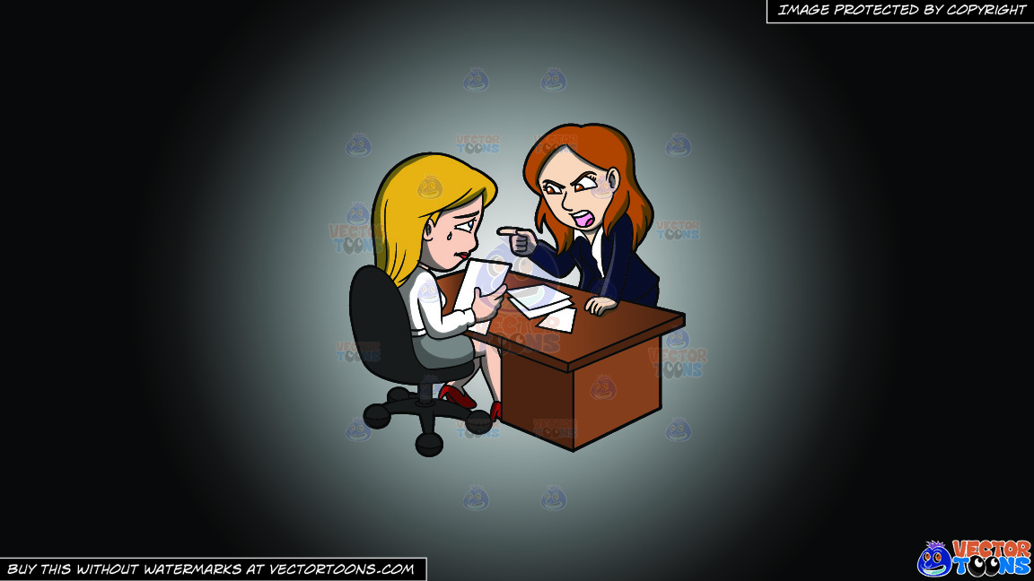 A Female Boss Scolding Her Assistant At Work On A White And Black Gradient Background thumbnail