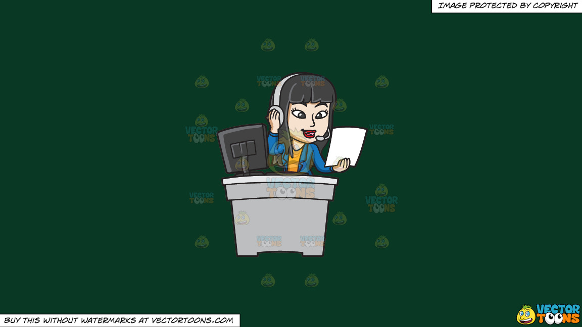 A Female Call Center Agent Reading Notes On A Solid Dark Green 093824 Background thumbnail