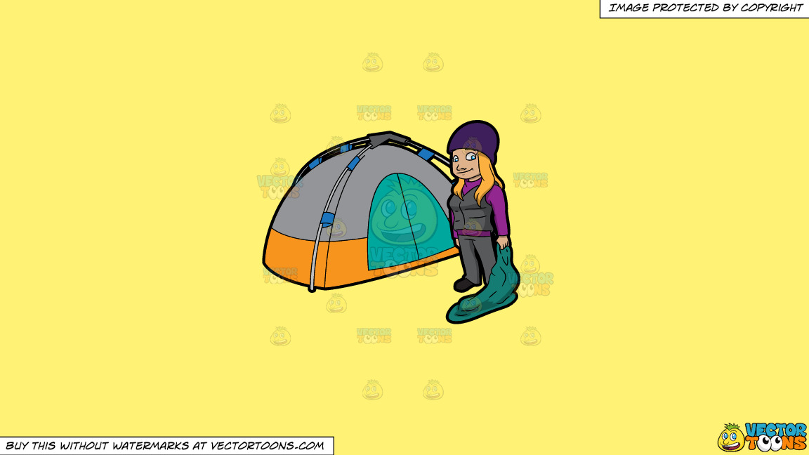 A Female Camper Carrying A Sleeping Bag On A Solid Sunny Yellow Fff275 Background thumbnail