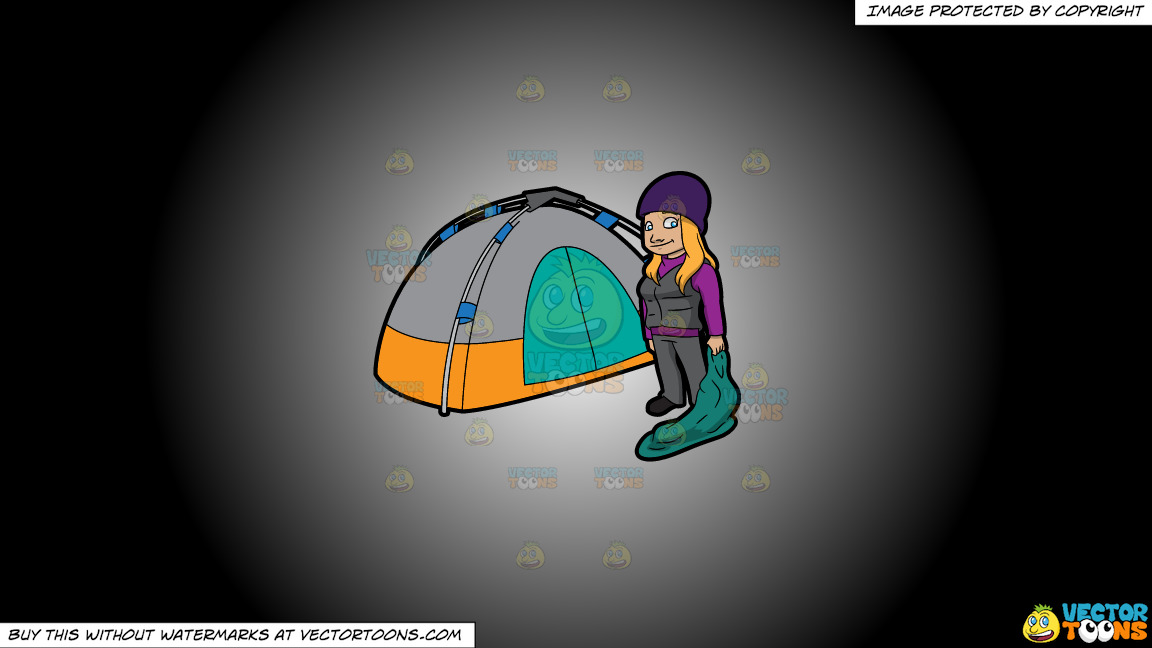 A Female Camper Carrying A Sleeping Bag On A White And Black Gradient Background thumbnail