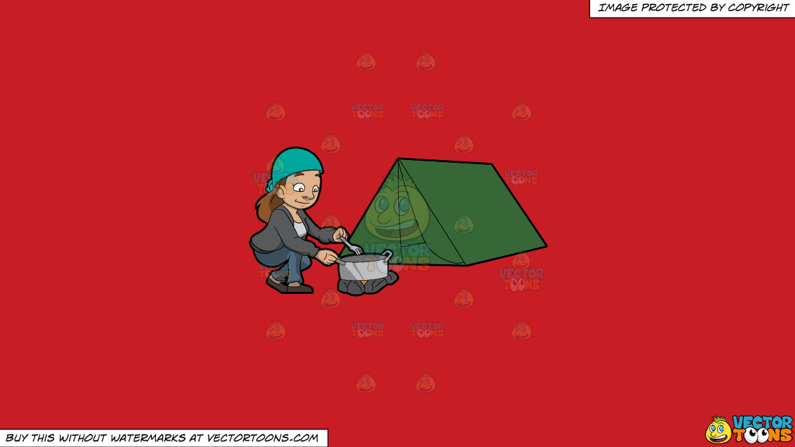 A Female Camper Cooking A Meal On A Solid Fire Engine Red C81d25 Background thumbnail
