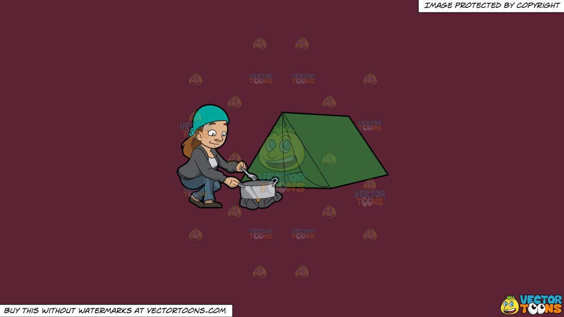 A Female Camper Cooking A Meal On A Solid Red Wine 5b2333 Background thumbnail