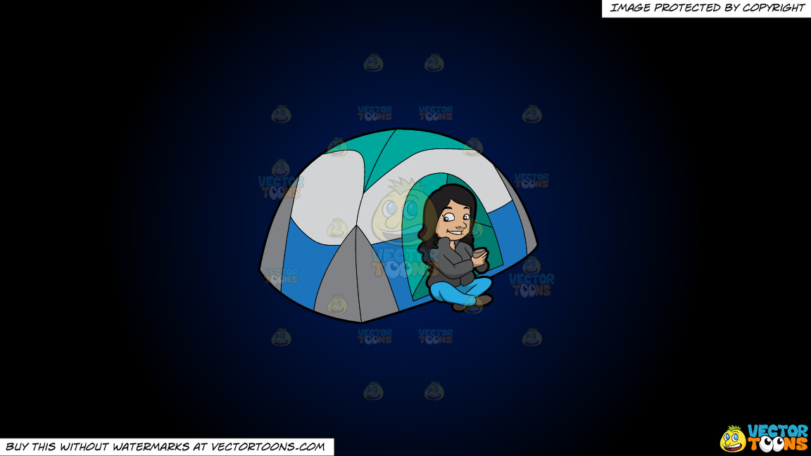 A Female Camper Drinking Tea On A Dark Blue And Black Gradient Background thumbnail