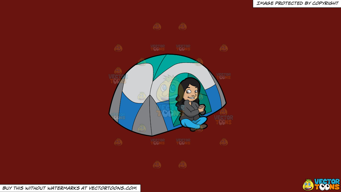 A Female Camper Drinking Tea On A Solid Maroon 69140e Background thumbnail