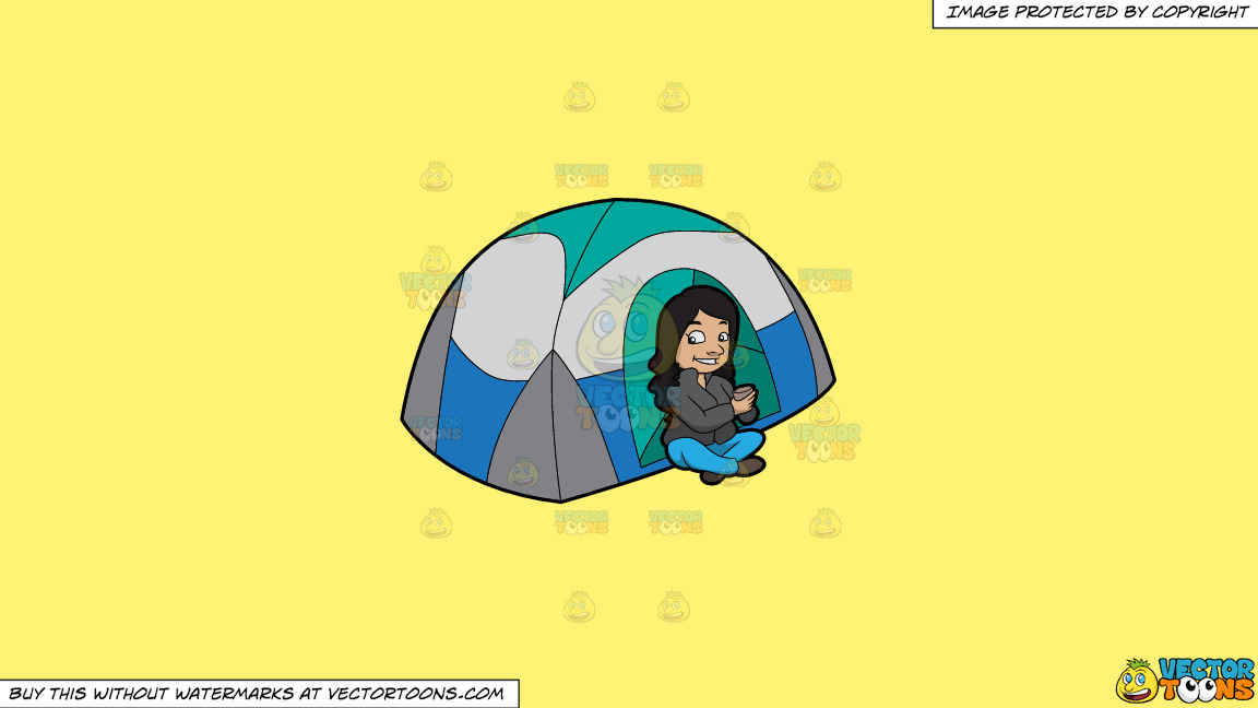 A Female Camper Drinking Tea On A Solid Sunny Yellow Fff275 Background thumbnail