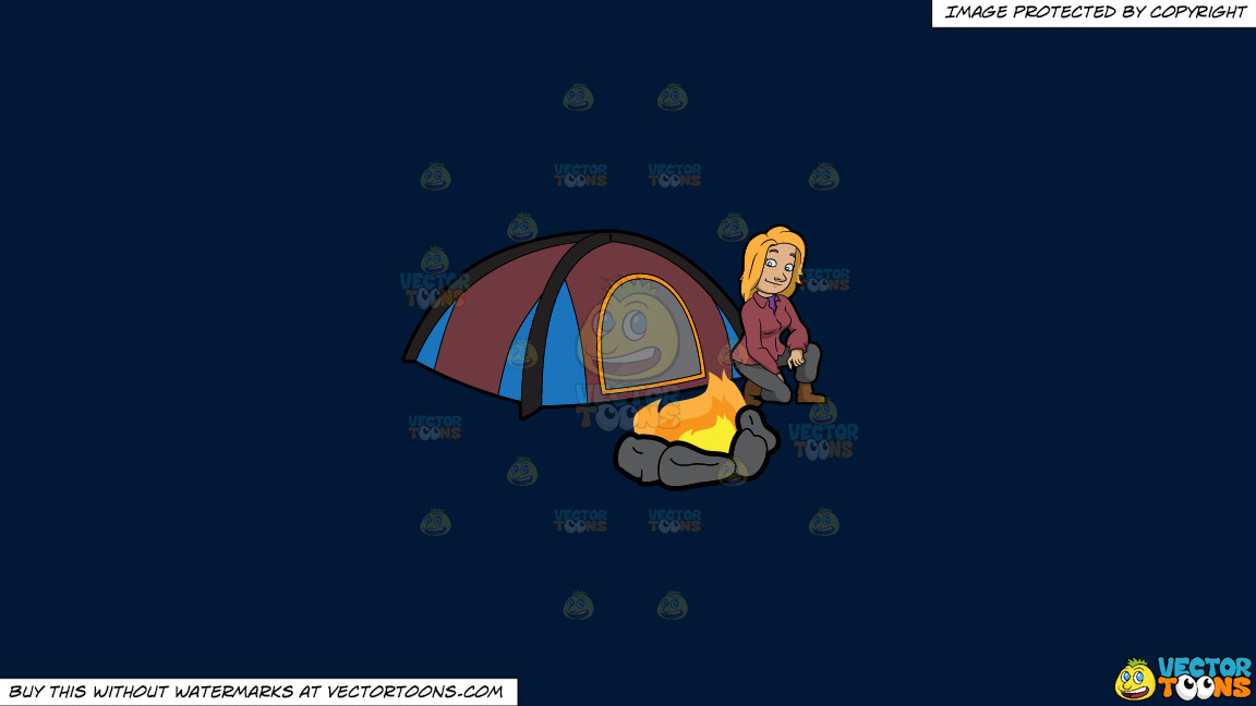 A Female Camper Looking At The Campfire On A Solid Dark Blue 011936 Background thumbnail