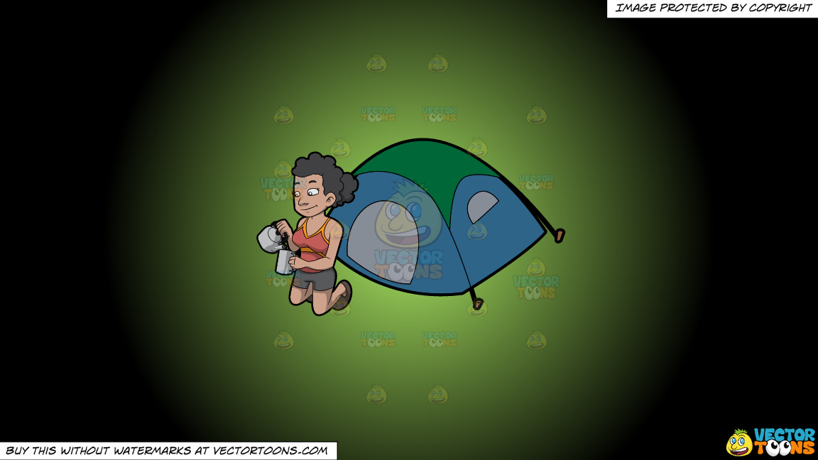 A Female Camper Pouring Some Hot Coffee Into Her Mug On A Green And Black Gradient Background thumbnail