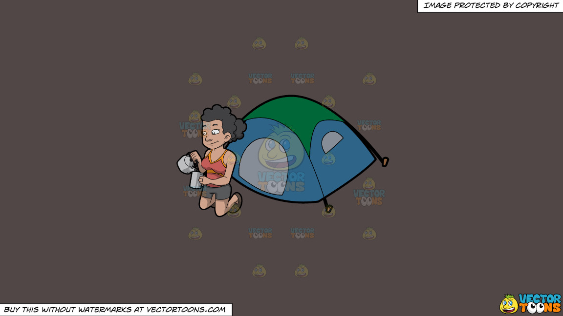 A Female Camper Pouring Some Hot Coffee Into Her Mug On A Solid Quartz 504746 Background thumbnail