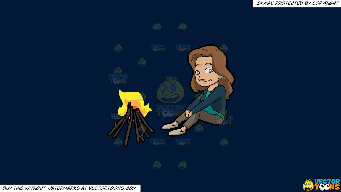 A Female Camper Sitting In Front Of A Campfire On A Solid Dark Blue 011936 Background thumbnail