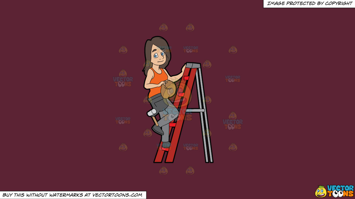 A Female Construction Worker Climbing A Ladder On A Solid Red Wine 5b2333 Background thumbnail