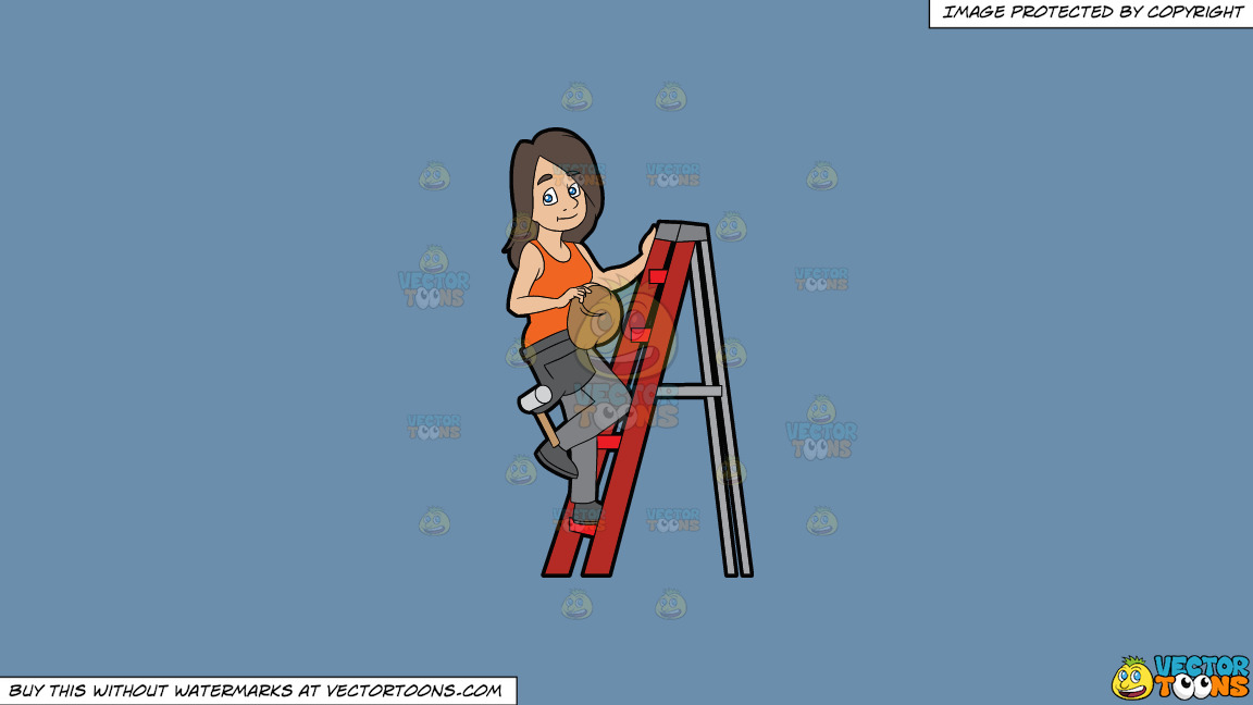A Female Construction Worker Climbing A Ladder On A Solid Shadow Blue 6c8ead Background thumbnail