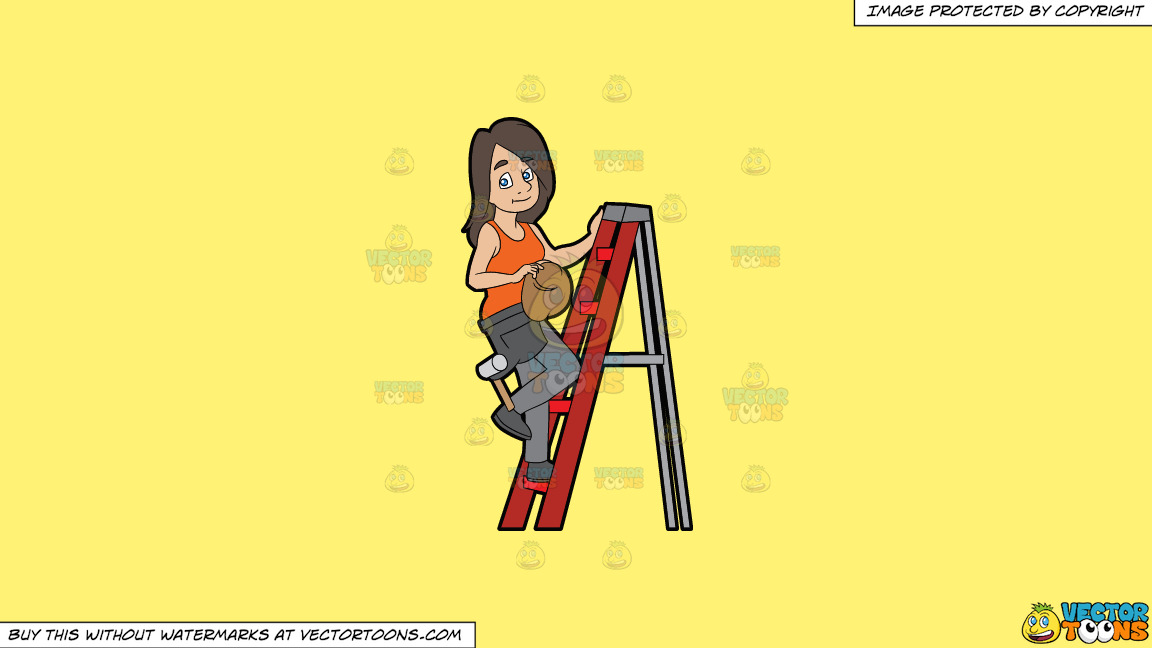 A Female Construction Worker Climbing A Ladder On A Solid Sunny Yellow Fff275 Background thumbnail
