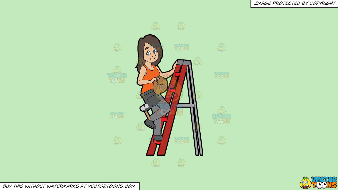 A Female Construction Worker Climbing A Ladder On A Solid Tea Green C2eabd Background thumbnail