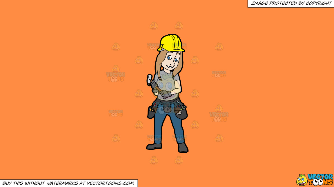 A Female Construction Worker Holding A Hammer In Her Hands On A Solid Mango Orange Ff8c42 Background thumbnail