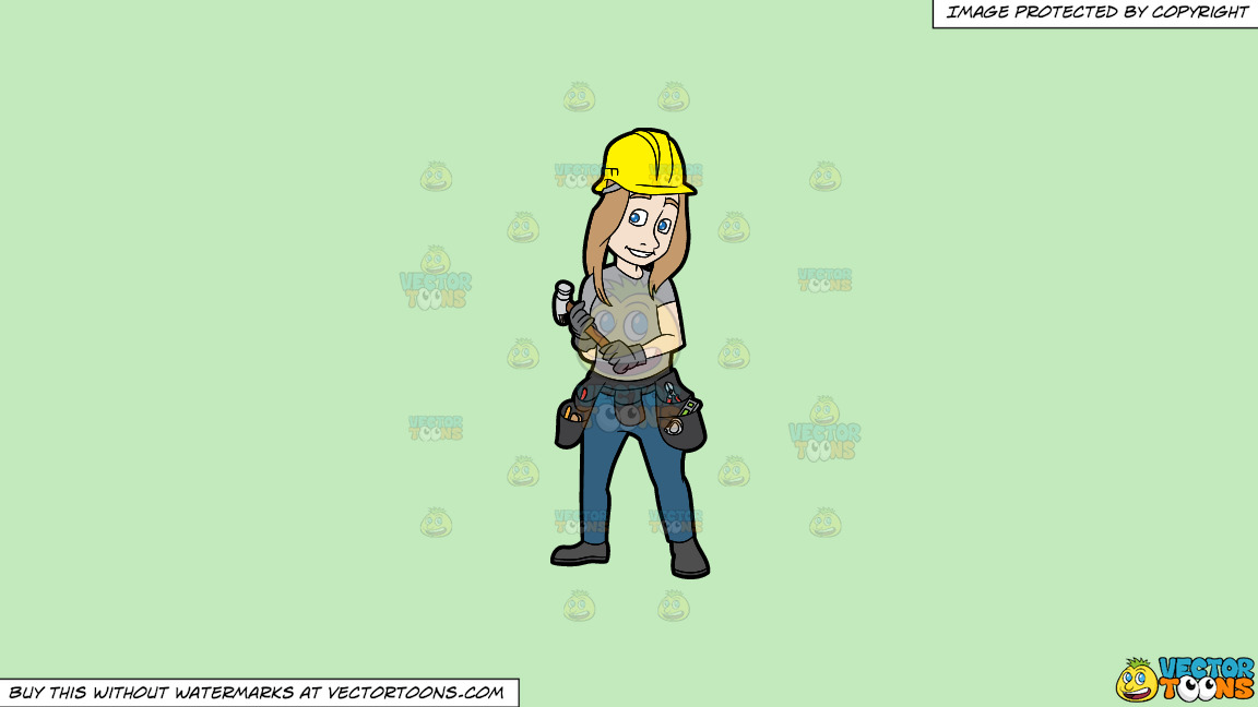 A Female Construction Worker Holding A Hammer In Her Hands On A Solid Tea Green C2eabd Background thumbnail
