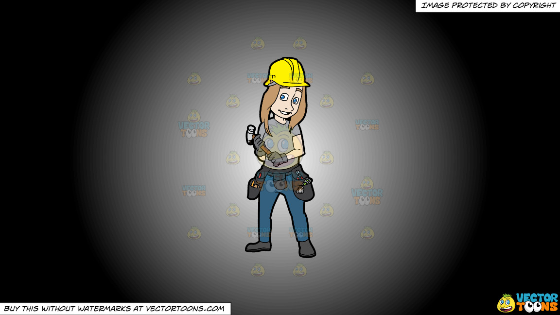 A Female Construction Worker Holding A Hammer In Her Hands On A White And Black Gradient Background thumbnail
