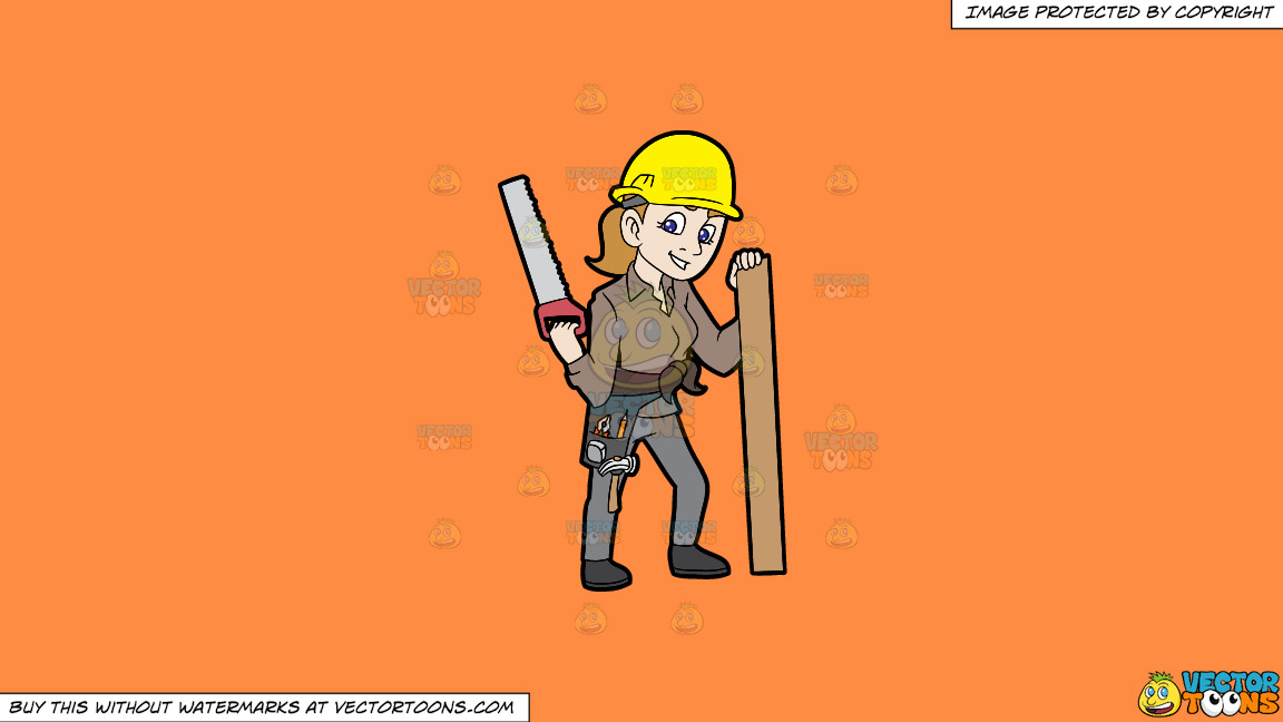 A Female Construction Worker Holding A Saw And A Piece Of Wood On A Solid Mango Orange Ff8c42 Background thumbnail