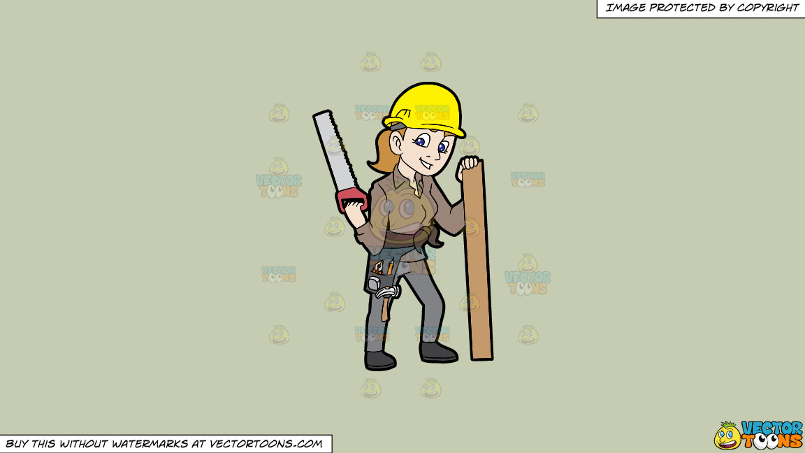 A Female Construction Worker Holding A Saw And A Piece Of Wood On A Solid Pale Silver C6ccb2 Background thumbnail