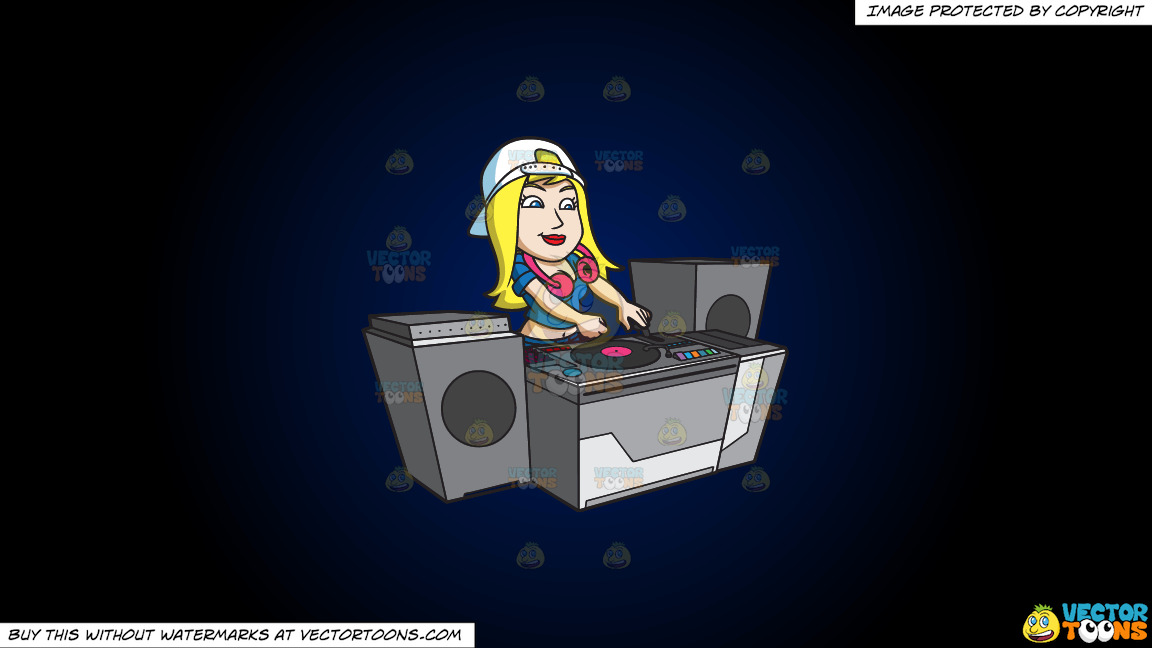 A Female Dj In Charge Of The Club Music On A Dark Blue And Black Gradient Background thumbnail