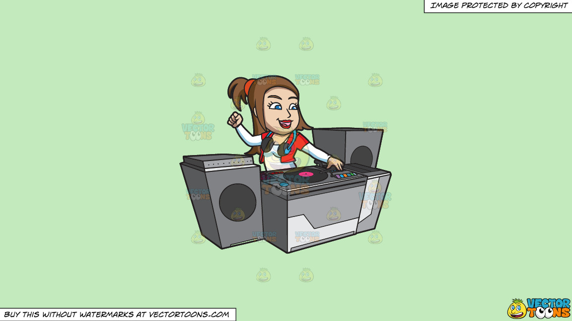 A Female Dj Pumping Up A Rave Party On A Solid Tea Green C2eabd Background thumbnail