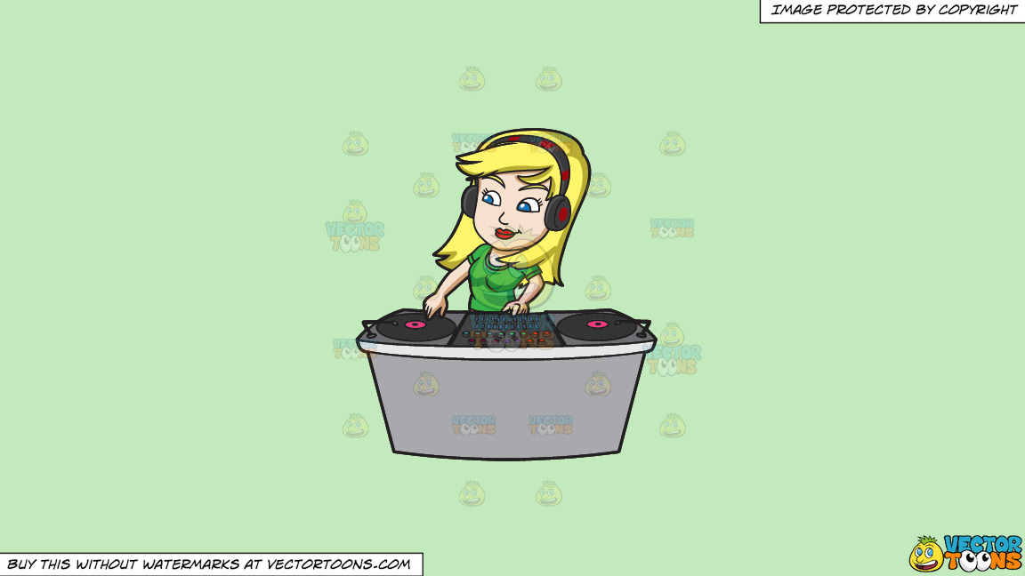 A Female Dj Spinning A Record During A Gig On A Solid Tea Green C2eabd Background thumbnail