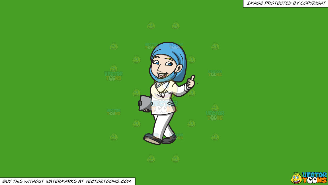 A Female Doctor Giving A Thumbs Up Sign On A Solid Kelly Green 47a025 Background thumbnail