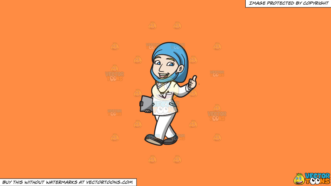 A Female Doctor Giving A Thumbs Up Sign On A Solid Mango Orange Ff8c42 Background thumbnail