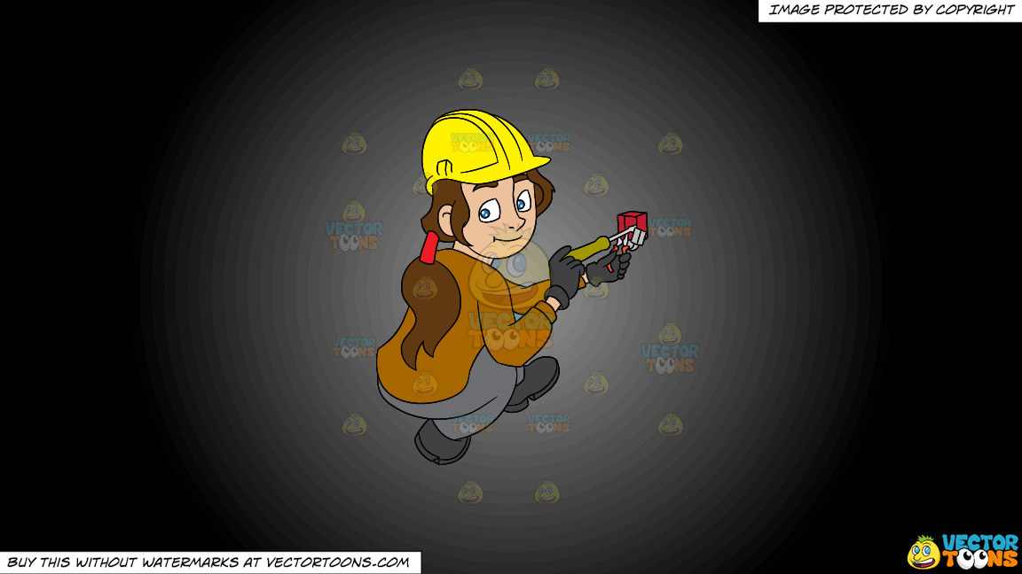 A Female Electrician Fixing A Telephone Jack On A Grey And Black Gradient Background thumbnail