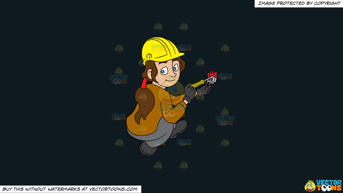 A Female Electrician Fixing A Telephone Jack On A Solid Off Black 0f1a20 Background thumbnail