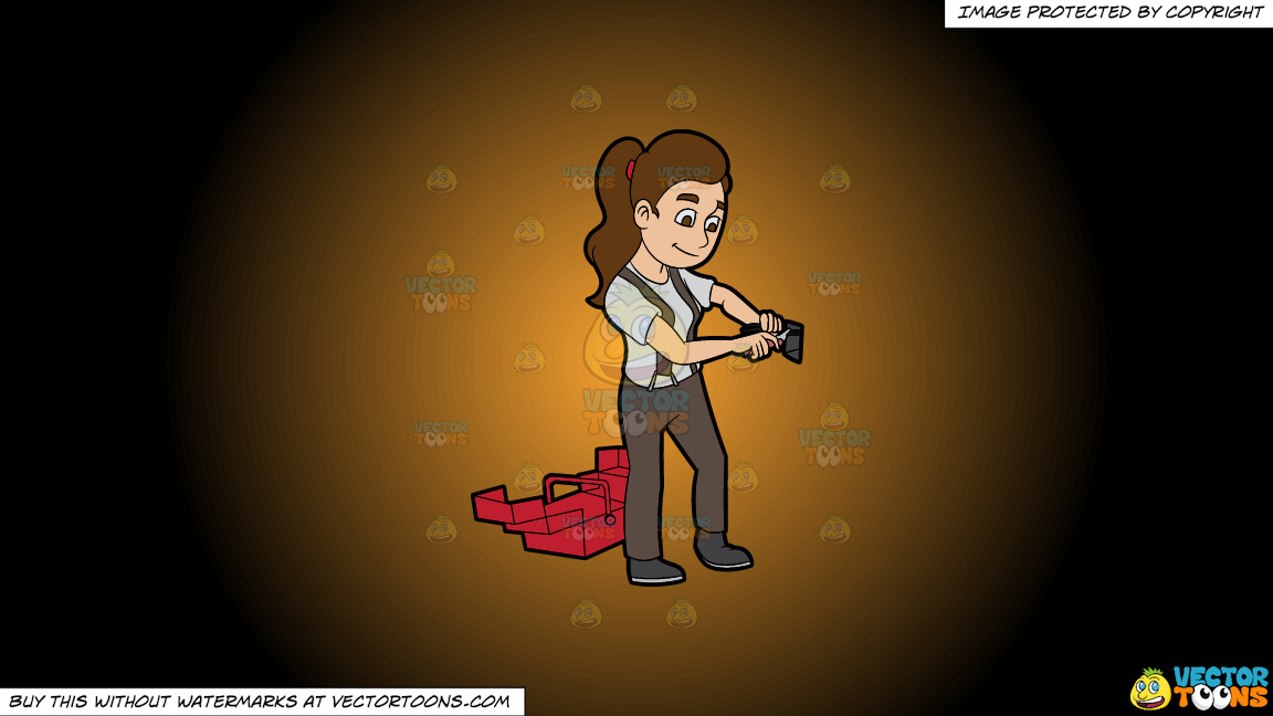 A Female Electrician Fixing An Electric Outlet On A Orange And Black Gradient Background thumbnail