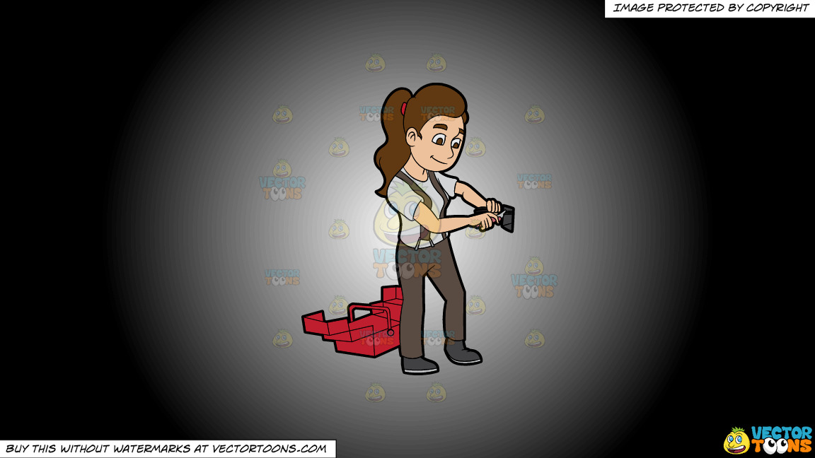 A Female Electrician Fixing An Electric Outlet On A White And Black Gradient Background thumbnail