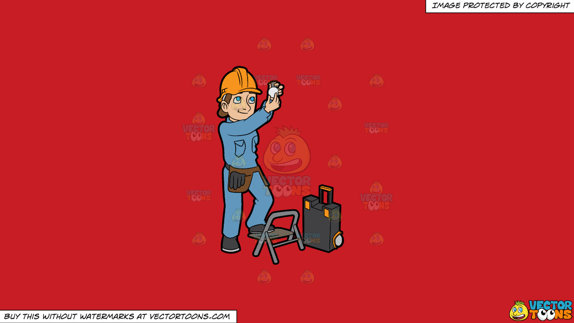 A Female Electrician Installing A Light Bulb On A Solid Fire Engine Red C81d25 Background thumbnail