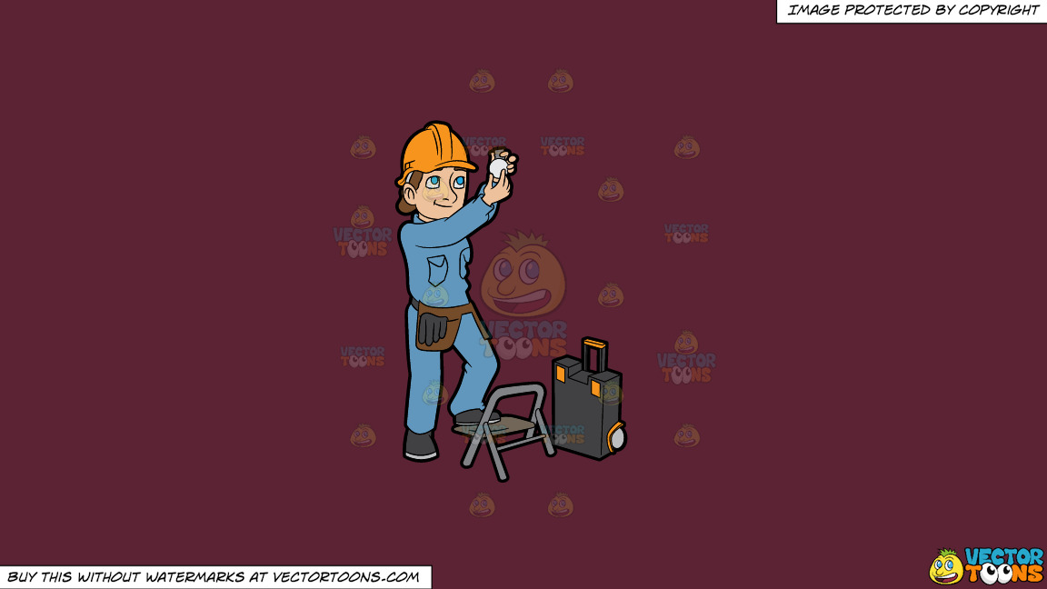 A Female Electrician Installing A Light Bulb On A Solid Red Wine 5b2333 Background thumbnail