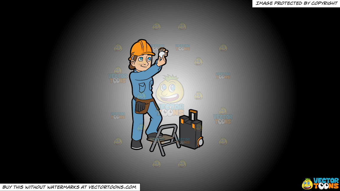 A Female Electrician Installing A Light Bulb On A White And Black Gradient Background thumbnail