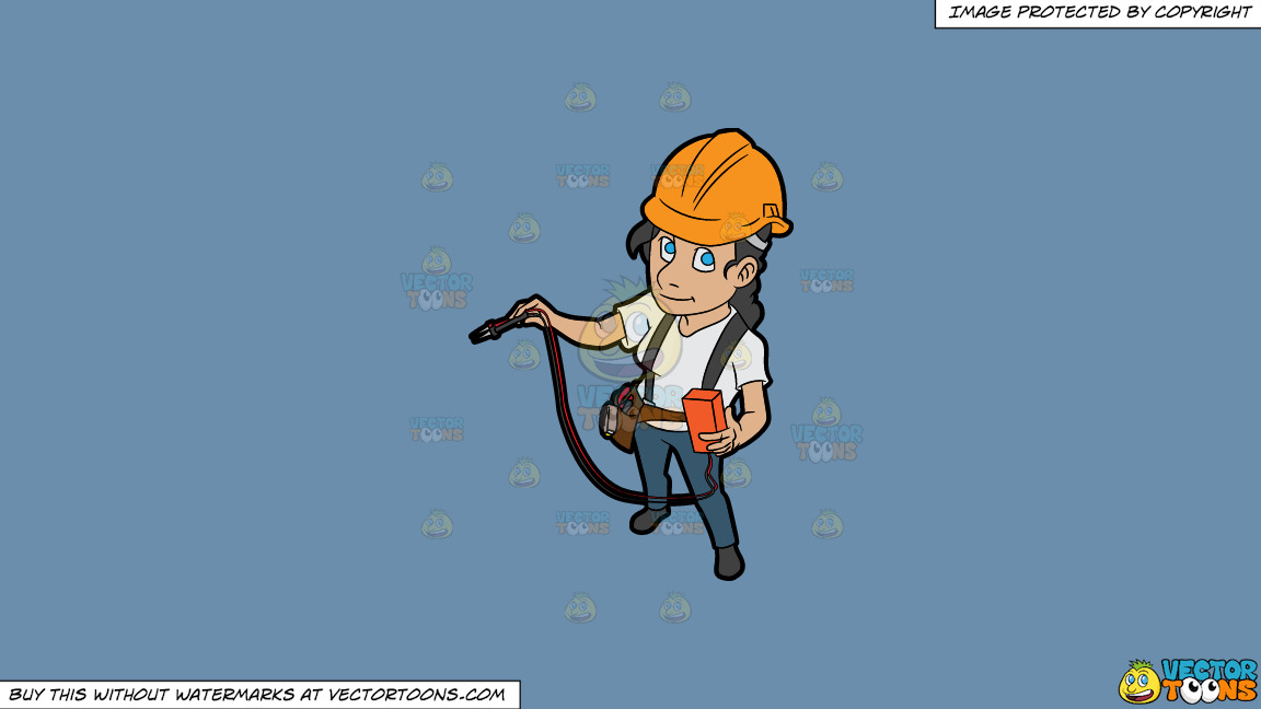 A Female Electrician Testing An Electrical Circuit On A Solid Shadow Blue 6c8ead Background thumbnail