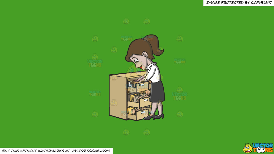 A Female Employee Looking For A File On A Solid Kelly Green 47a025 Background thumbnail