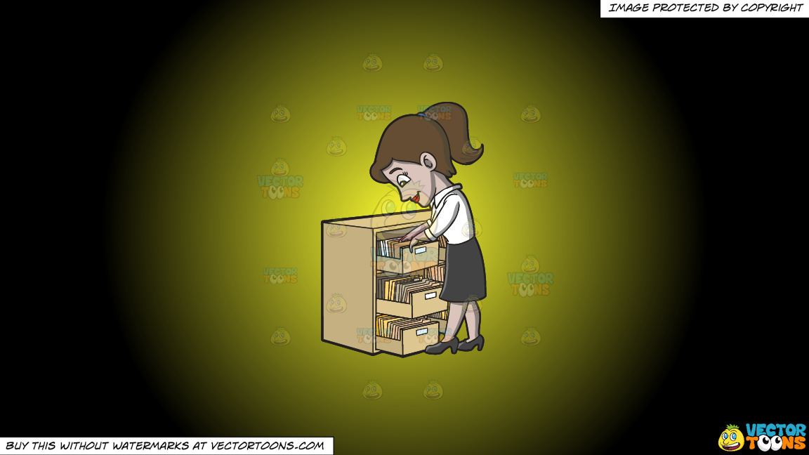 A Female Employee Looking For A File On A Yellow And Black Gradient Background thumbnail