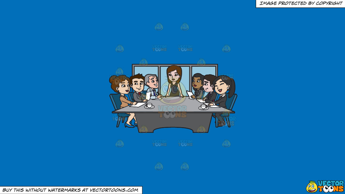 A Female Executive Running A Board Meeting On A Solid Spanish Blue 016fb9 Background thumbnail