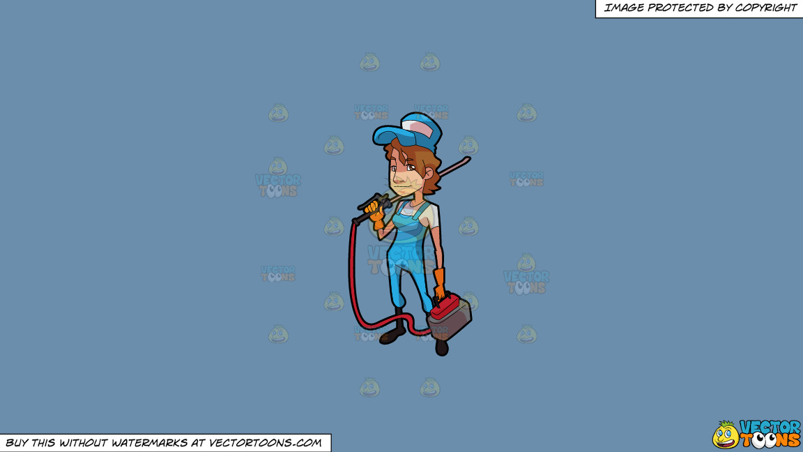 A Female Exterminator Carrying A Portable Pest Control Equipment On A Solid Shadow Blue 6c8ead Background thumbnail