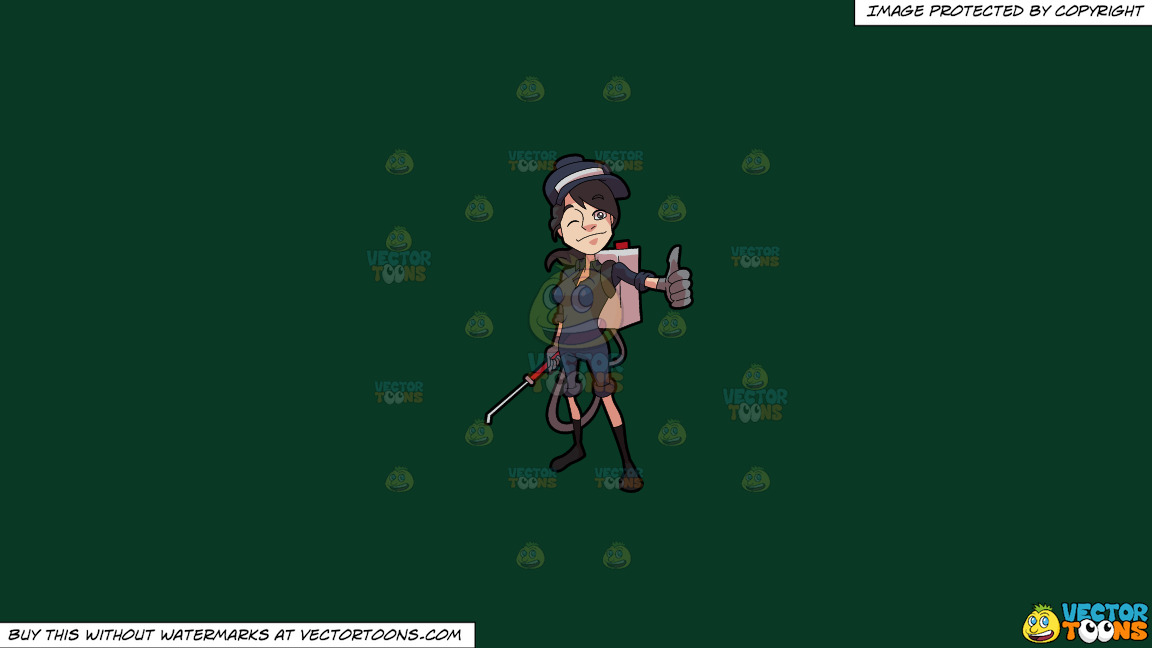 A Female Exterminator Giving A Thumbs Up Sign On A Solid Dark Green 093824 Background thumbnail