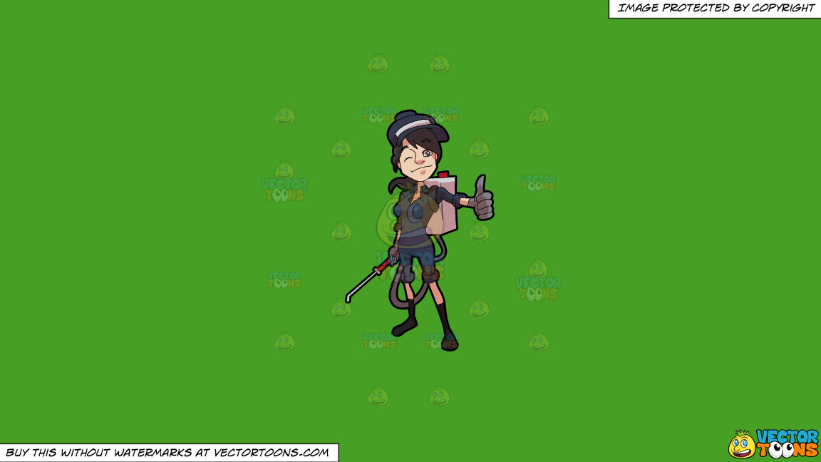 A Female Exterminator Giving A Thumbs Up Sign On A Solid Kelly Green 47a025 Background thumbnail