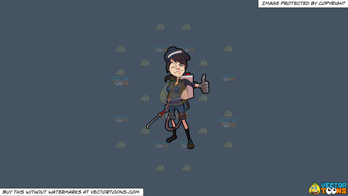 A Female Exterminator Giving A Thumbs Up Sign On A Solid Metal Grey 465362 Background thumbnail
