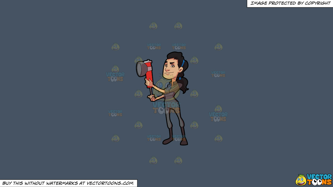 A Female Exterminator Holding A Spray Pump To Kill Bugs On A Solid Metal Grey 465362 Background thumbnail