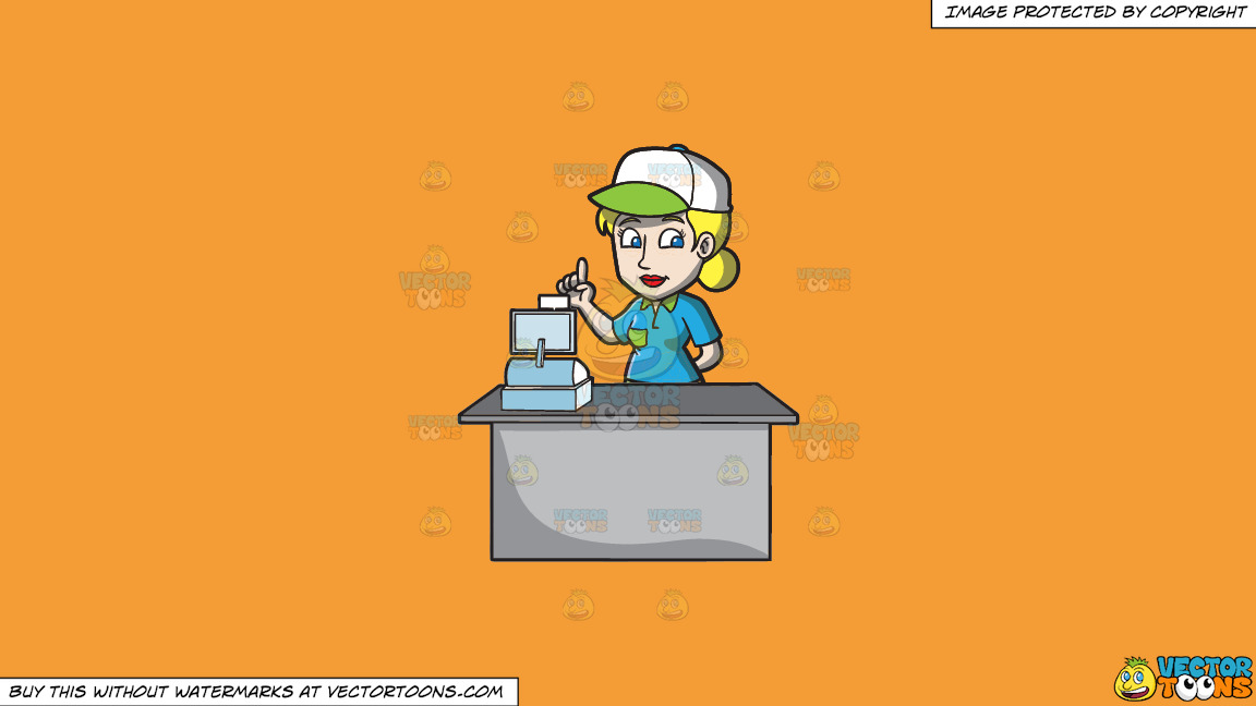 A Female Fast Food Cashier Employee On A Solid Deep Saffron Gold F49d37 Background thumbnail