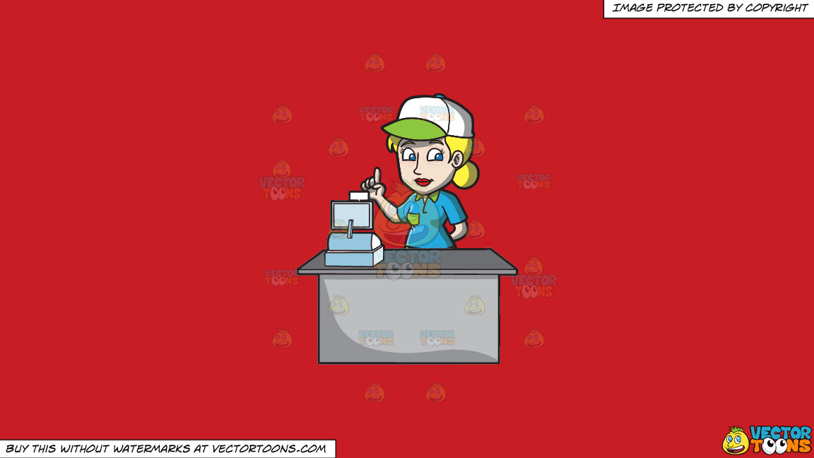A Female Fast Food Cashier Employee On A Solid Fire Engine Red C81d25 Background thumbnail