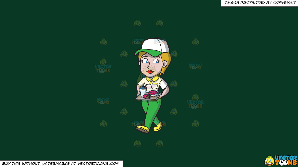 A Female Fast Food Worker Serving A Tray Of Order On A Solid Dark Green 093824 Background thumbnail