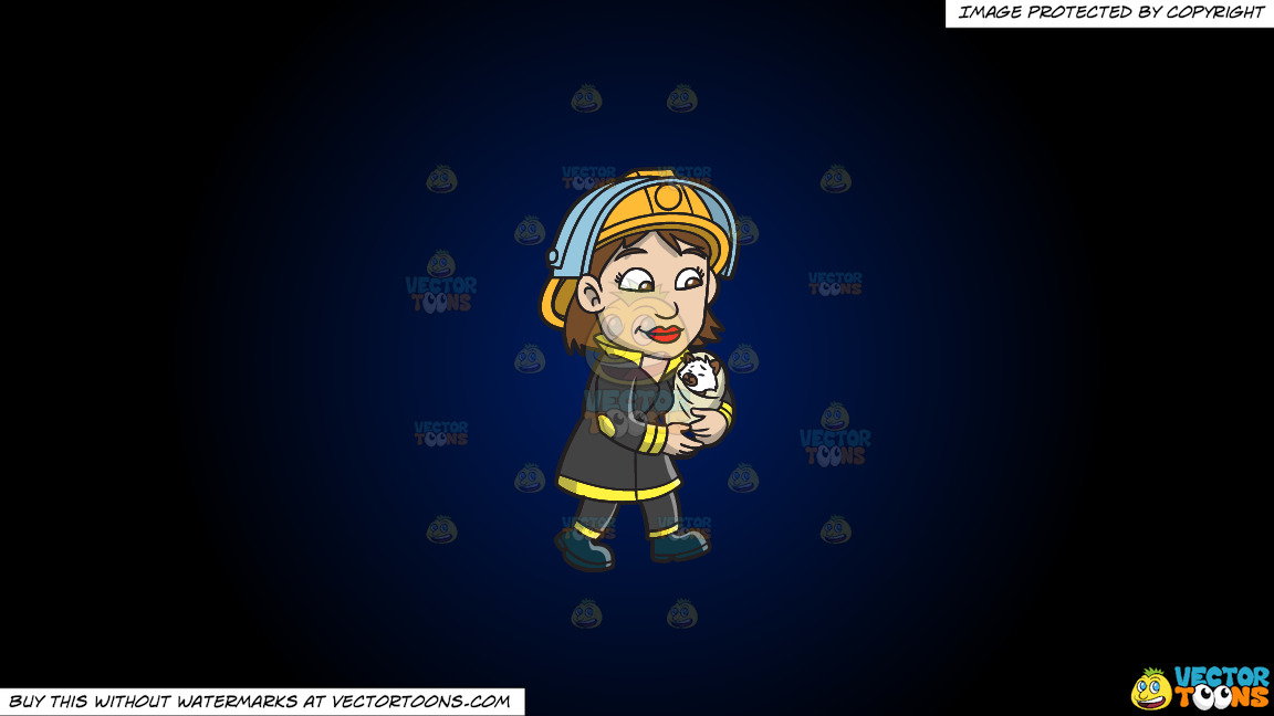 A Female Firefighter Carrying A Rescued Animal On A Dark Blue And Black Gradient Background thumbnail