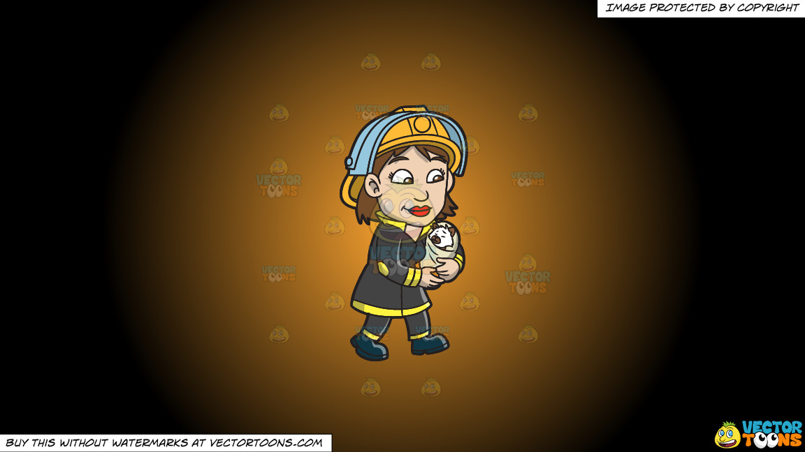 A Female Firefighter Carrying A Rescued Animal On A Orange And Black Gradient Background thumbnail