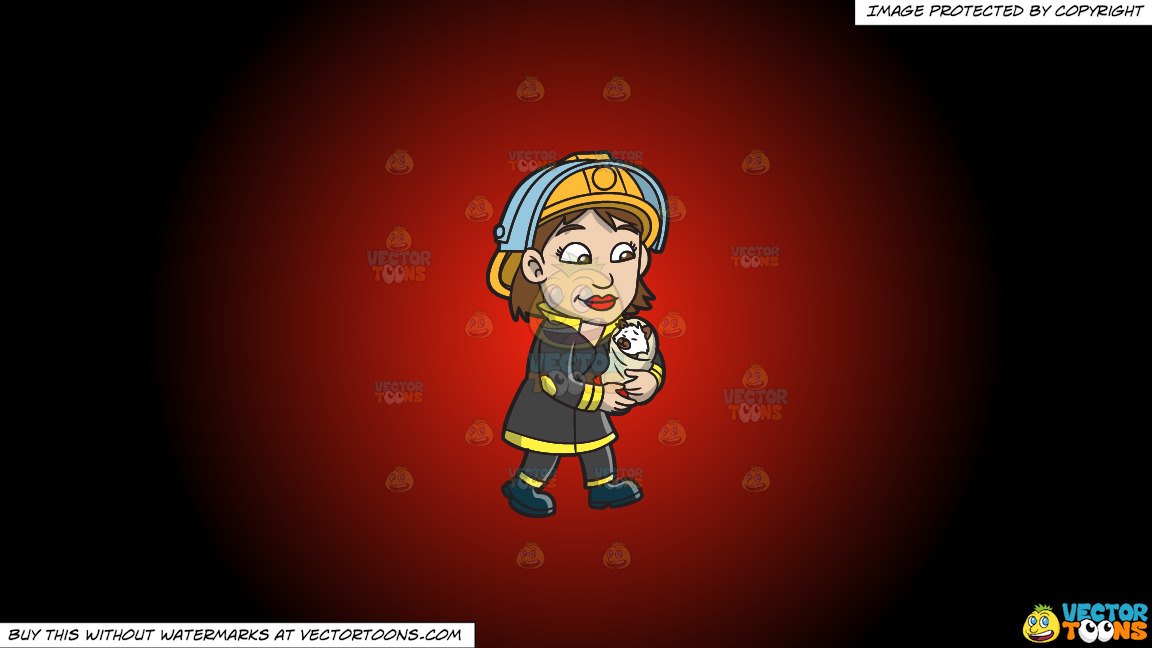 A Female Firefighter Carrying A Rescued Animal On A Red And Black Gradient Background thumbnail