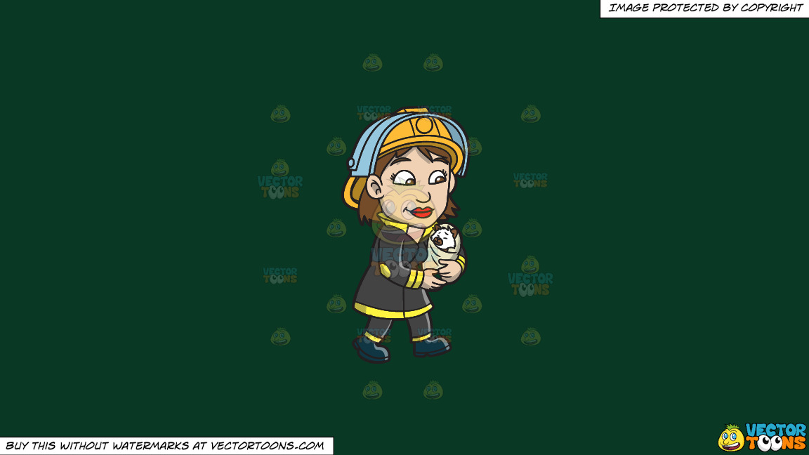 A Female Firefighter Carrying A Rescued Animal On A Solid Dark Green 093824 Background thumbnail